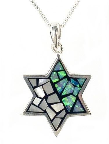 Opal Sterling Silver Star of David Pendant