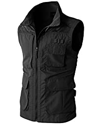 H2H Mens Casual Work Utility Hunting Travels Sports Vest With Multiple Pockets BLACK US L/Asia XL (KMOV080)
