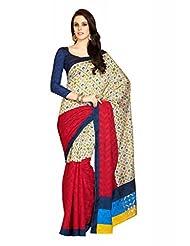 Inddus Exclusive Women Bhagal Puri Silk Printed Red Saree
