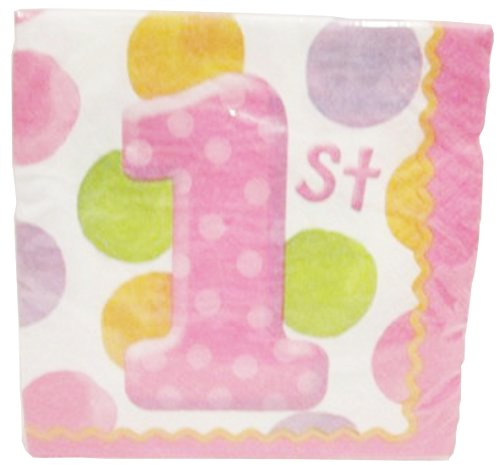 1st Birthday Big Dots Napkins - Girl ~ 16 3 Ply 9in X 9in