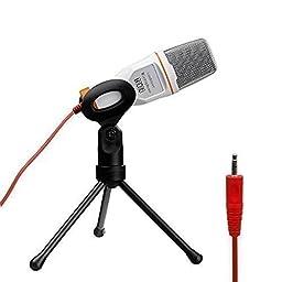 Tonor White Professional Condenser Sound Podcast Studio Microphone For PC Laptop Computer