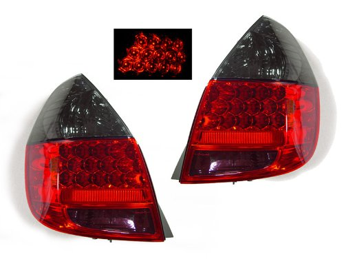 A Pair Of Depo Red And Smoke Lense Led Tail Lights - Honda Fit 2006-2008