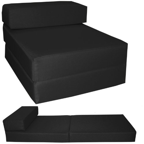 Gilda ® STANDARD CHAIRBED - BLACK FRESCO Single Chair Bed Futon Water & Stain Resistant. Reversible. Removeable Cover. Lots more colours available in our AMAZON Shop
