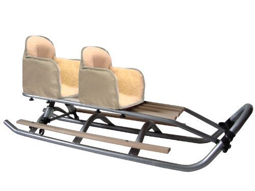 SD-09 DUO Set Doppelschlitten mit Federung BEIGE Geschwisterschlitten Schlitten 2 x Fußablagen 2 x Sitz * 2 x Rückenlehne * Band