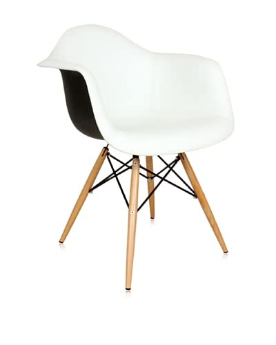 Control Brand Mid Century-Inspired Arm Chair, White/Black As You See