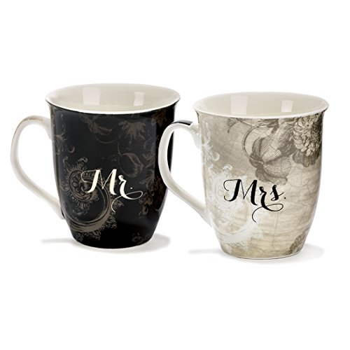 Stoneware 16 oz. Mug Set - Mr & Mrs/Together Forever (Mr And Mrs Coffee Mugs compare prices)