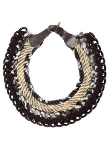 Orly Genger by Jaclyn Mayer, New York - Rope And Leather Collar Necklace - Black