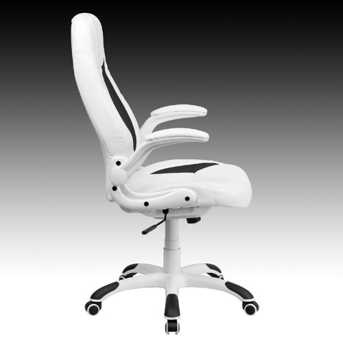 FlashFurniture CH CX0176H06 WH GG High Back White Leather Executive Office  Chair With