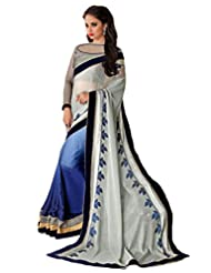 AG Lifestyle Grey & Blue Satin & Chiffon Jacquard Pallu Saree With Unstitched Blouse SAV4205A