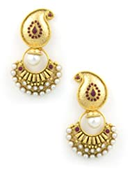 The Art Jewellery Ruby Mango With Chand Shaped Drop Earrings For Women