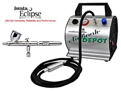 HP-CS .35mm Eclipse Airbrush with Compressor Model TC-60 Super Quiet High Performance Airbrush Depot Airbrush Compressor with Small Tank