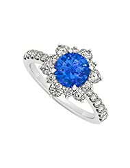 925 Sterling Silver September Birthstone Sapphire And Cubic Zirconia Floral Engagement Ring
