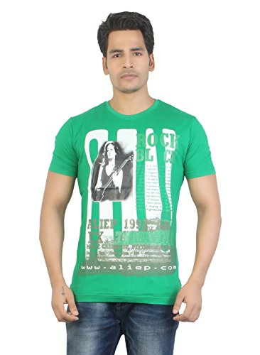 Aliep Aliep Stylish Green Printed Half Sleeves T-Shirt For Men | ALP1602 (Multicolor)