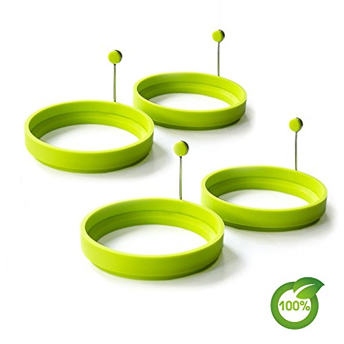 Silicone Egg Ring Nonstick Fried Egg Mold Egg Pancake Mold Kitchen Pancake Rings FDA-approved and 100% BPA-free(4-pack)