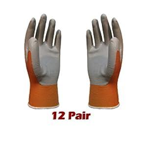 ATLAS Fit 370 Mango (Orange) Thin Nitrile Gloves Large L *12-Pack*