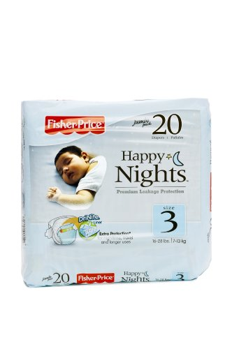 Fisher-Price Happy Nights Baby Diapers Jumbo Pack, Size 3, 20 Count (Pack of 12) - 1