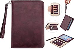 iPad Mini 4 Case Cover Super Functional Series Premium Leather for Apple iPad Mini 4 Tablet Accessories with Card Slots, Elastic Strap and Auto Sleep/Wake Function (wine red)
