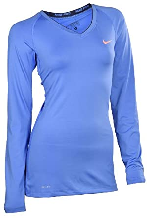 Nike Ladies Pro Core II Fitted Long Sleeve Running Shirt-Blue by Nike