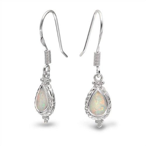 Bling Jewelry Vintage Cable Style Teardrop White Opal Dangle Earrings 925 Silver