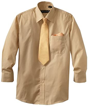 American Exchange Big Boys' Dress Shirt With Tie And Pocket Square, Gold, 12