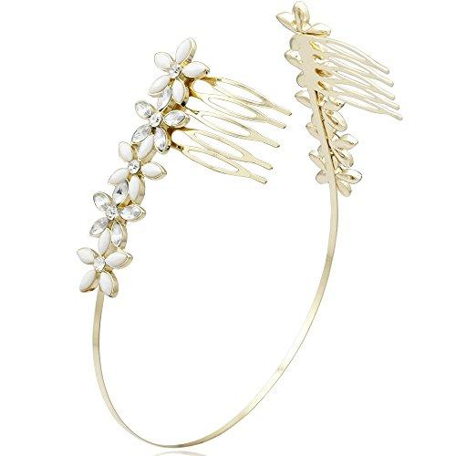[Q&Q Fashion Roman Goddess Gold Faux Diamante Crystal Flower Hair Crown Headband Head Dress Alice Band Comb] (Roman Goddess Accessories)