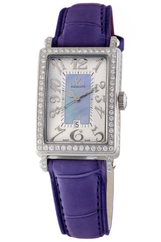 Gevril Women's 7247NV.3 Blue Mother-of-Pearl Genuine Alligator Strap Watch