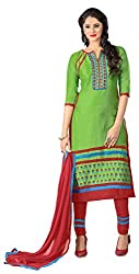 Ethnic For You Glaze Cotton Unstitched Salwar Suit Dress Materials(Green)