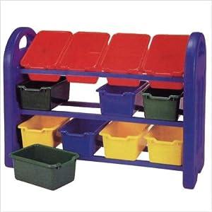 Toy Organizer Rack with 12 Bins-Plastic & Steel
