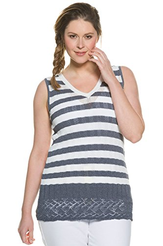 Ulla Popken Women's Plus Size Stripe Sweater Tank Blue Grey 12/14 705016 15