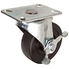E.R. Wagner Plate Caster, Swivel with Pinch Brake, Hard Rubber Wheel