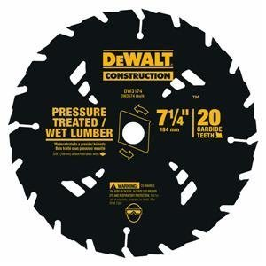DEWALT DW3174 Construction Series 7-1/4-Inch 20 Tooth ATB Thin Kerf Pressure Treated and Wet Lumber Cutting Saw Blade with 5/8-Inch and Diamond Knockout Arbor