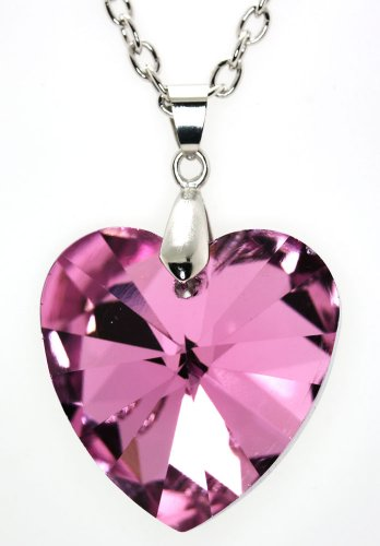 Multifaceted Triangle -Cut Pink Austrian Crystal Heart Pendent Necklace