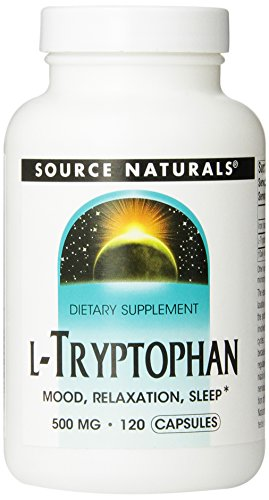 Source Naturals L-Tryptophan 500mg, Supports Relaxation, Restful sleep, and Positive mood,120 Capsules