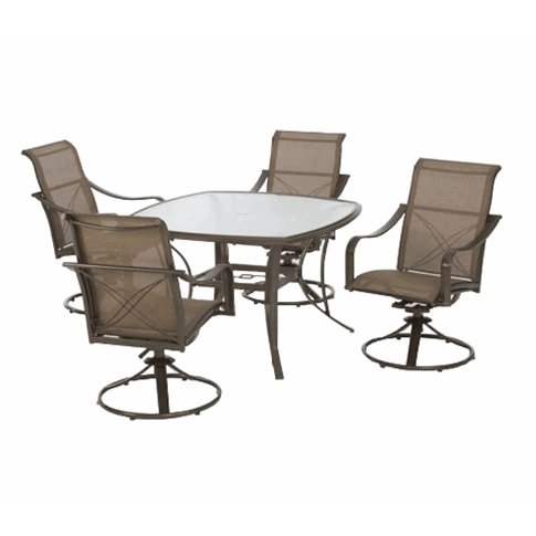 Hampton bay grand bank 5 piece outdoor patio dining set for Affordable outdoor dining sets