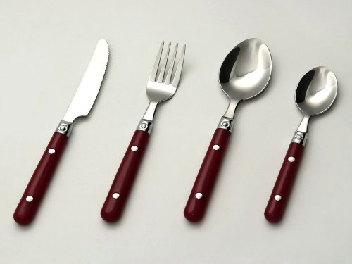 24-pcs. Cutlery Set with red handles