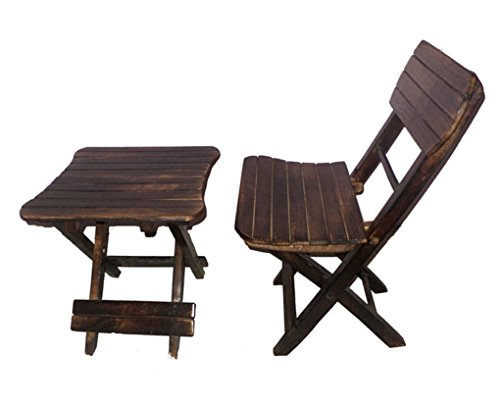 Shah Kreations Antique Child's wooden Folding Table & Chair Set