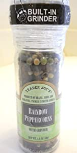 Trader Joe's Rainbow Peppercorns , a Mixture of Brazilian Pink,indian Green,malaysian White and Indian Black Tellicherry Peppercorns