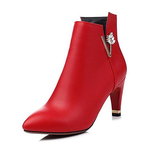 AgooLar Donna Bassa Altezza Puro Cerniera Scarpe A Punta Tacco Alto Stivali con Metallo Pezzo, Rosso, 38