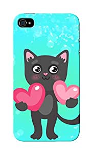 CimaCase Kitten With Heart Designer 3D Printed Case Cover For Apple iPhone 4S