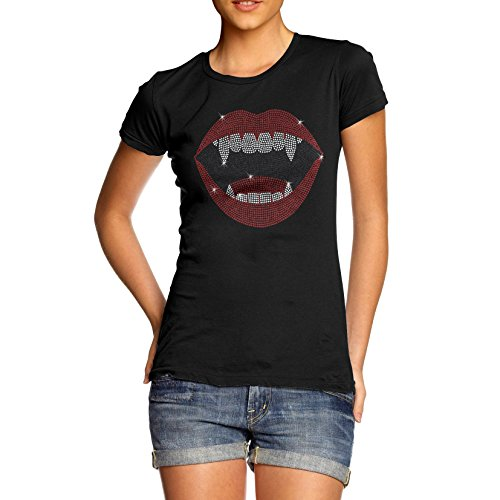 Women's Vampire Lips Rhinestone Diamante T-Shirt