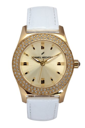 Daniel Hechter-DHD - 003S 1EB/Women's Watch Analogue Quartz Golden Dial White Leather Strap