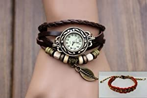 Brown Color Quartz Fashion Weave Wrap around Leather Bracelet Lady Women Wrist Watch