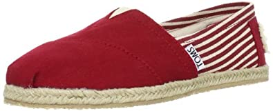 TOMS Women's Classic Rope Slip-On, University Red, 5 M US