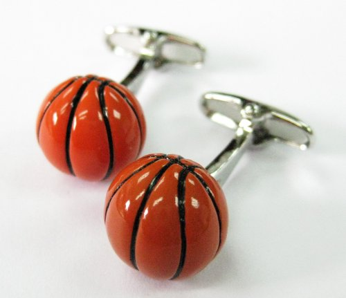 Enamel Round Three Dimensional Basketball Cufflinks Cuff Links