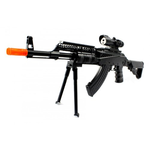 AK-47L RIS Spring Airsoft Gun FPS-300 w/ Banana Clip Magazine, Folding Bi-Pod, Removable Stock