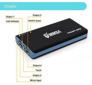 Portable Charger 20000mAh by MMSA Power Bank- 4 USB ports - Compact External Battery Pack - Quickcharge for iPhone, iPad, Samsung Nexus HTC LG Smartphones Tablets - Black and Blue