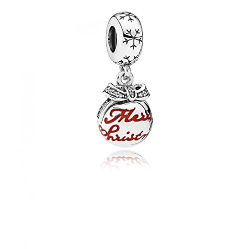 PANDORA Dangle Merry Christmas Bauble with Translucent Classic Red Enamel