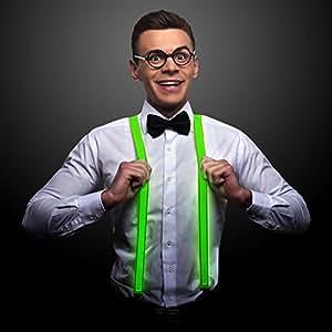 FlashingBlinkyLights Green LED Light Up Suspenders