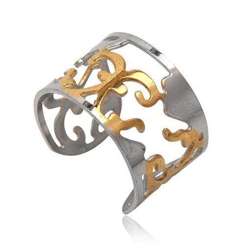 Stainless Steel Gold Engraving Rings 1.40cm