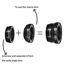 MDN® Universal 3 in 1 Clip-On 180 Degree Supreme Fisheye+0.67X Wide Angle+10X Macro Lens Clip Camera Photo Kit For iPhone 6/6 Plus,iPhone 5 5S 4 4S Samsung Galaxy HTC LG and all Smartphones (Black)